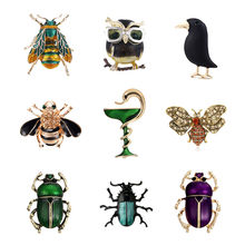 Lovely Animal Snake Owl Crow Brooches Pins Beetle Cockroach Broach Enamel Insect Bee Collar Badge Jewelry for Women Men Gifts(China)