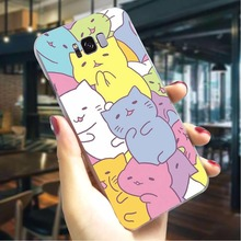 Cat kawaii Hard Cover for Samsung Galaxy A6 Plus 2018 Colorful Phone Case A7 A8 A9 A10 A30 Back Cases