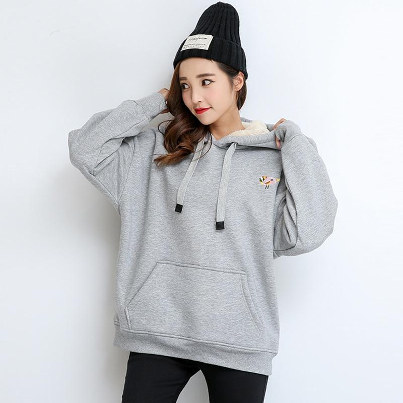 Nouveau sweat à capuche pour femme sweat-shirts 2018 printemps épais lâche pulls décontractés femme hiver gris haute qualité Hoodies RE0225