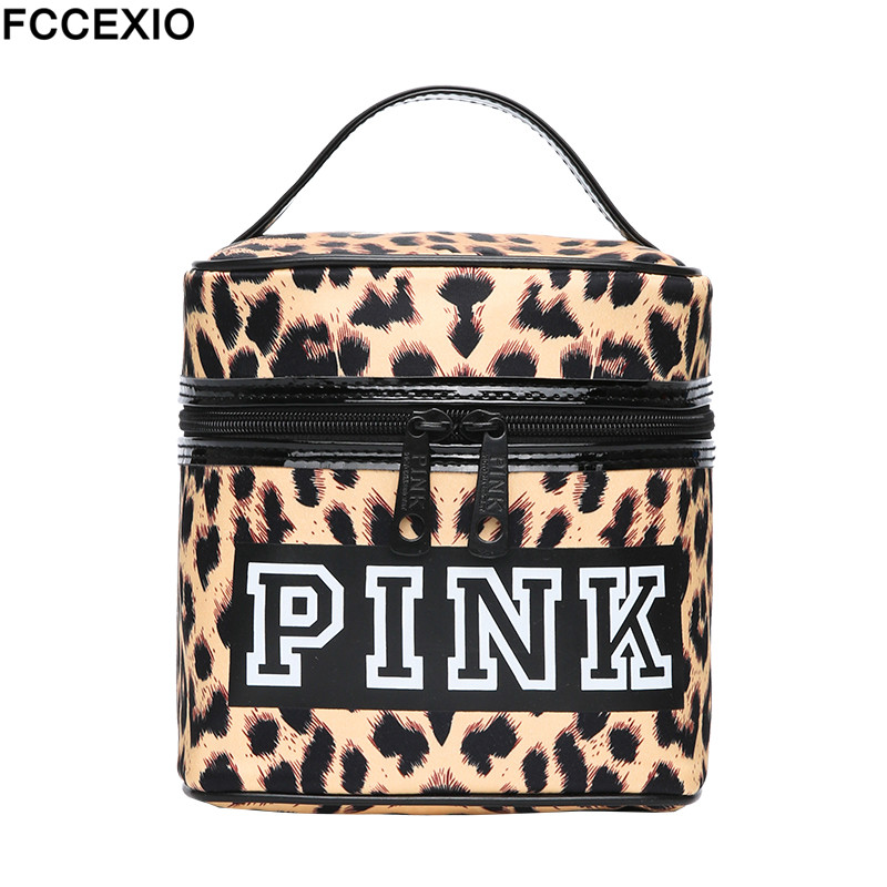 FCCEXIO Women New Fashion Love Pink Make Up Bag Women's Large Capacity Handbag Leopard Print Bag Cosmetic Bags & Cases