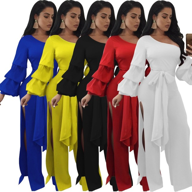 945c96d1673 VAZN 2017 Solid Long Jumpsuit Sexy Summer Bodycon One-Shoulder Women Petal  Sleeve Jumpsuits Fashion Night Club Rompers J7488K