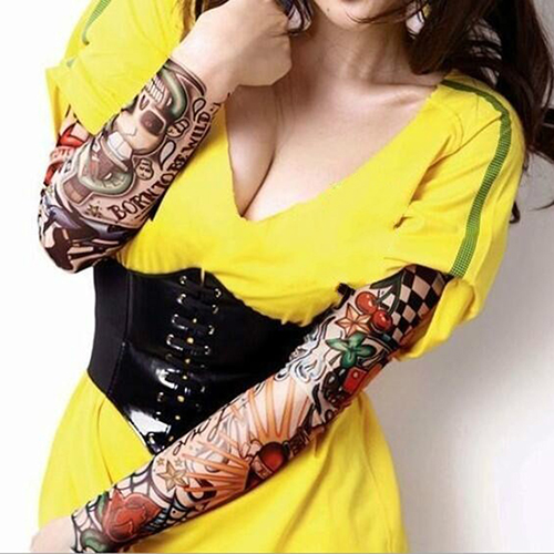 2Pcs Men Women Elastic Fake Cool Temporary Tattoo Long Sleeves Arm Stockings