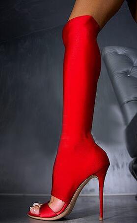 The Hottest Satin Slim Slip-on Woman Knee High Boots Female Peep Toe Elasticity Sandasl Boots Stiletto High Heels Dress Shoes satin slip sleep dress