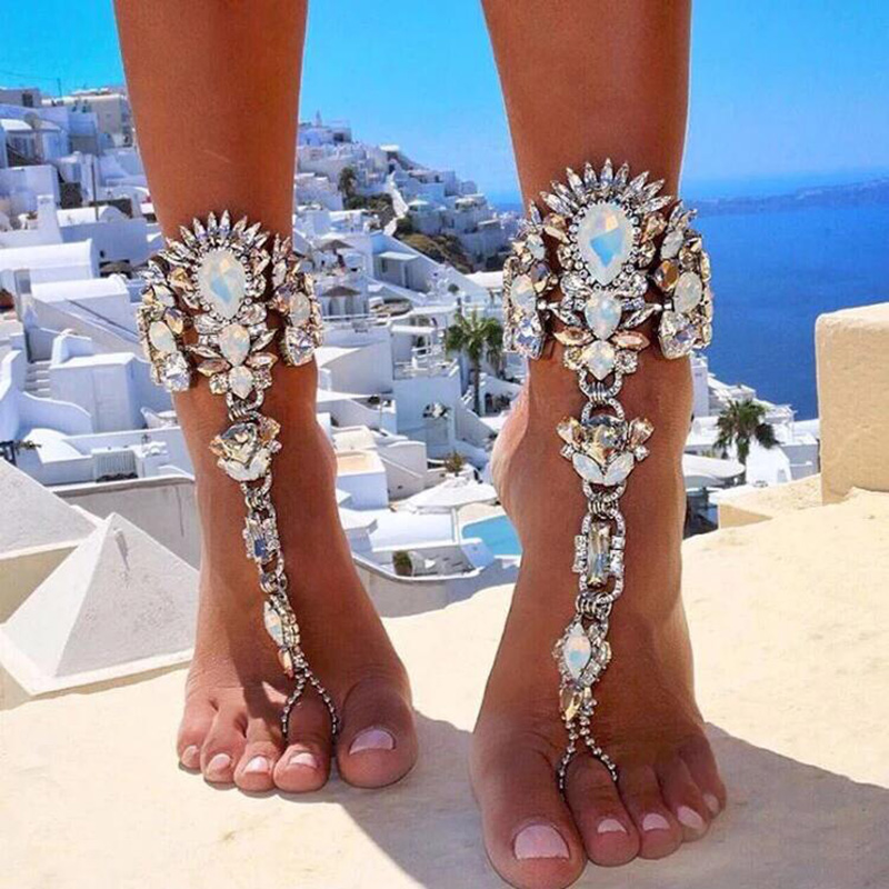 Boho Crystal Anklet Australia Beach Vacation Ankle Bracelet Sandals Sexy Leg Chain Female Statement Asteria Lyra Foot Jewelry vacation