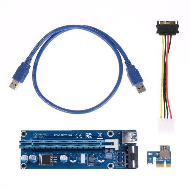 For BTC Miner Machine PCI-E extender PCI Express Riser Card 1x to 16x USB 3.0 SATA to 4Pin IDE Molex Power Supply raiser 60cm