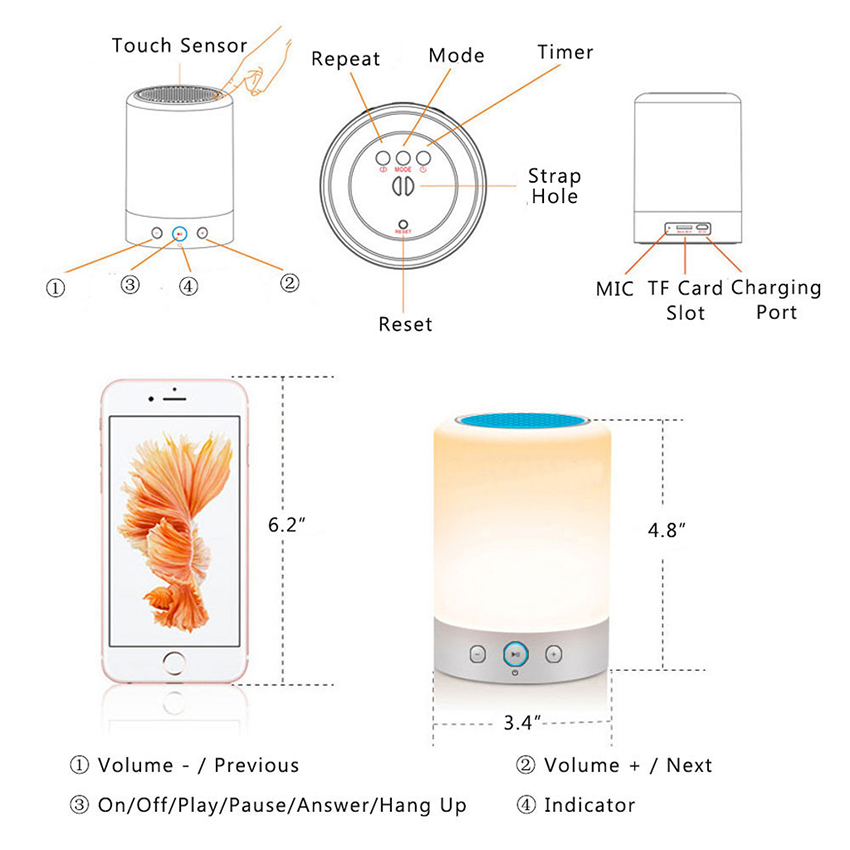 Speakers Consumer Electronics Qualified Can Control By App Bluetooth Night Light Speakers Color Changing Timer Setting Alarm Clock