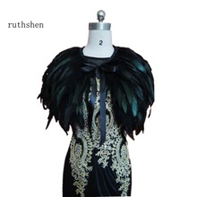 Ruthshen imagem real vestido de noite capa roubou pena envolve encolher bolero casaco xale cachecol