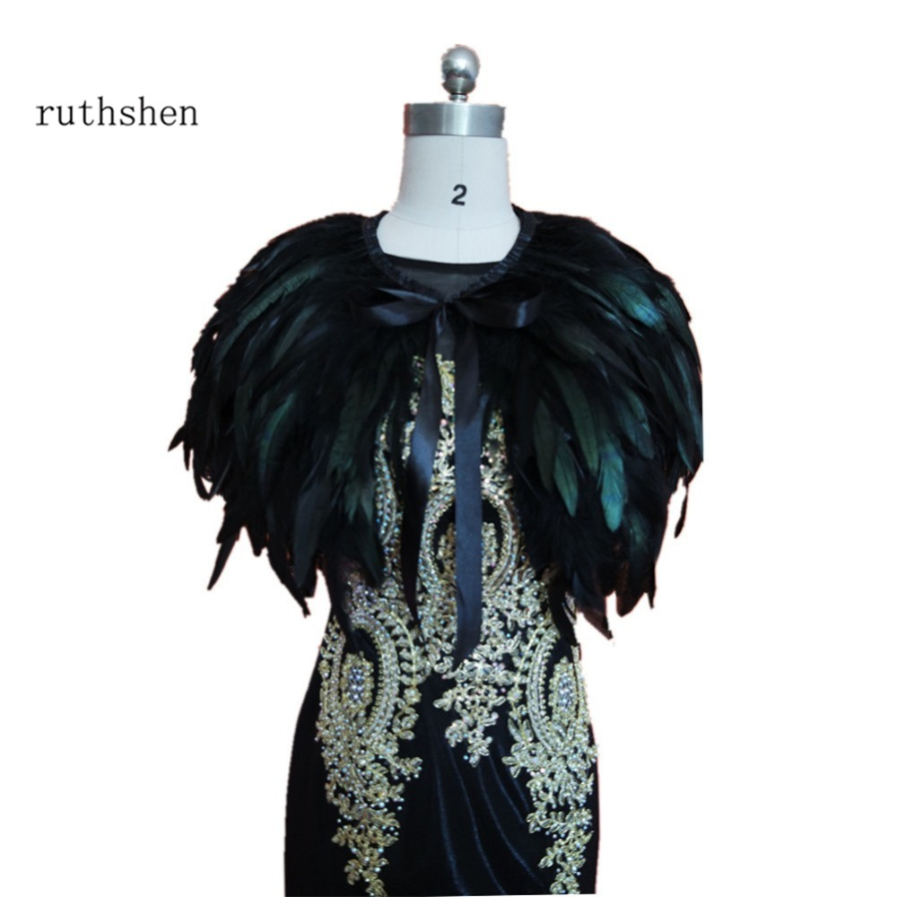Ruthshen Real Image Evening Dress Cape Stole Feather Wraps Shrug Bolero Coat Shawl Scarf