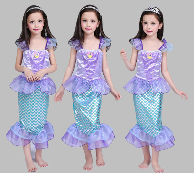 Baby the little mermaid tail princess ariel dress cosplay halloween costume  for kids girls carnaval fancy dresses skirt children a82d35819