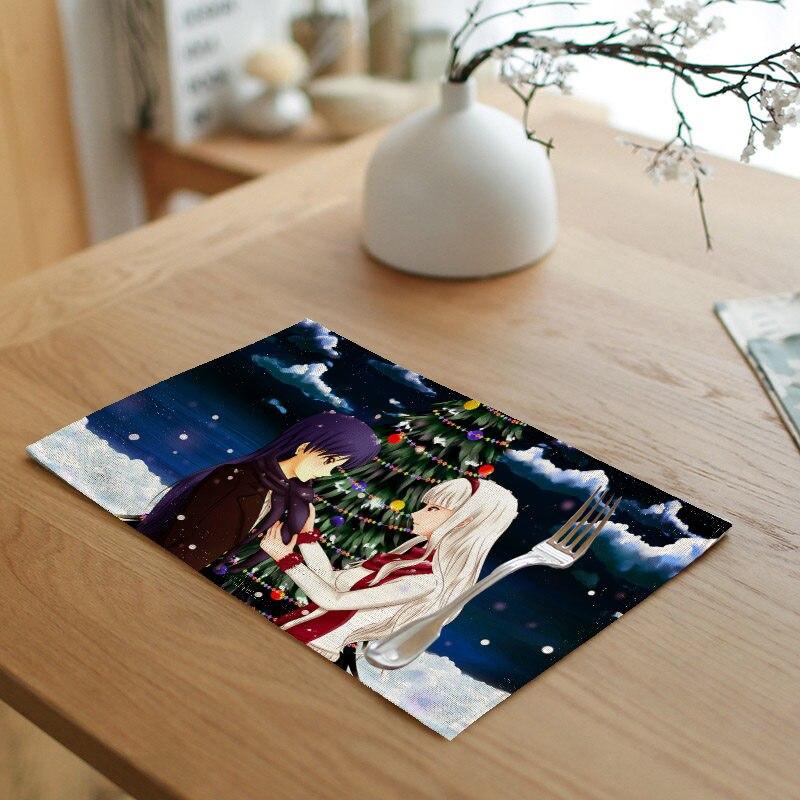 Christmas Tree Napkin Pattern: Anime Christmas Napkin Linen Beauty Elk Pattern Tree Meal