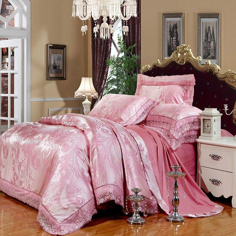 noble boho style pattern bedding sets light pink linens silk cotton jacquard 4/6pcs Queen/King duvet cover set sheets sets