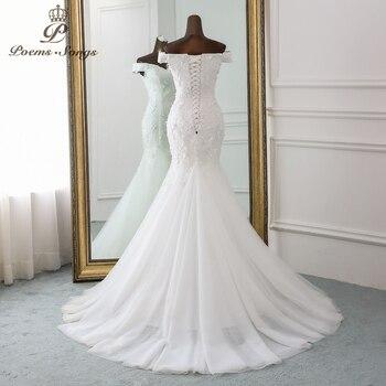 PoemsSongs 2019 new style beautiful three-dimensional flower lace wedding dress Vestido de noiva Mermaid dress  robe mariage 3