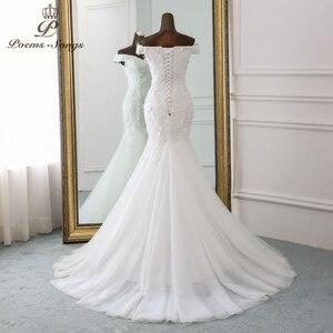 Image 3 - PoemsSongs New style beautiful three dimensional flower lace wedding dress 2020 Vestido de noiva Mermaid dress robe de mariee
