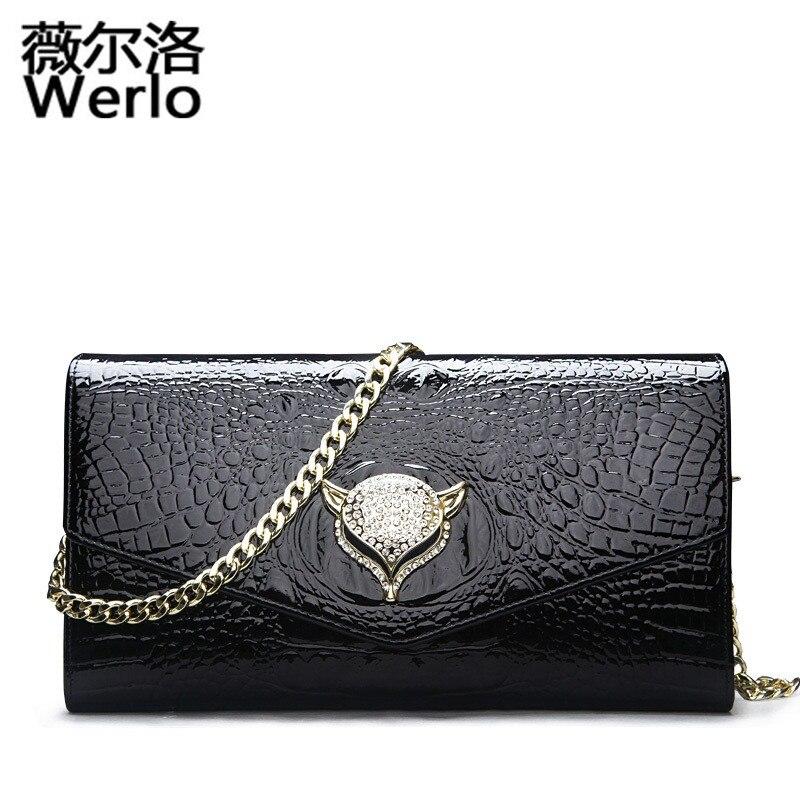Фотография WERLO Brand New Designer Women Day Clutches Shoulder Bags Diamonds Casual Messenger Bag Genuine Leather Female Evening Bag SJ122