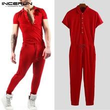 INCERUN мужской комбинезон с отворотом на шее, Одноцветный комбинезон с коротким рукавом для фитнеса, хип-хопа, бодибилдинга, мужские комбинезоны, штаны, уличная одежда, S-5XL