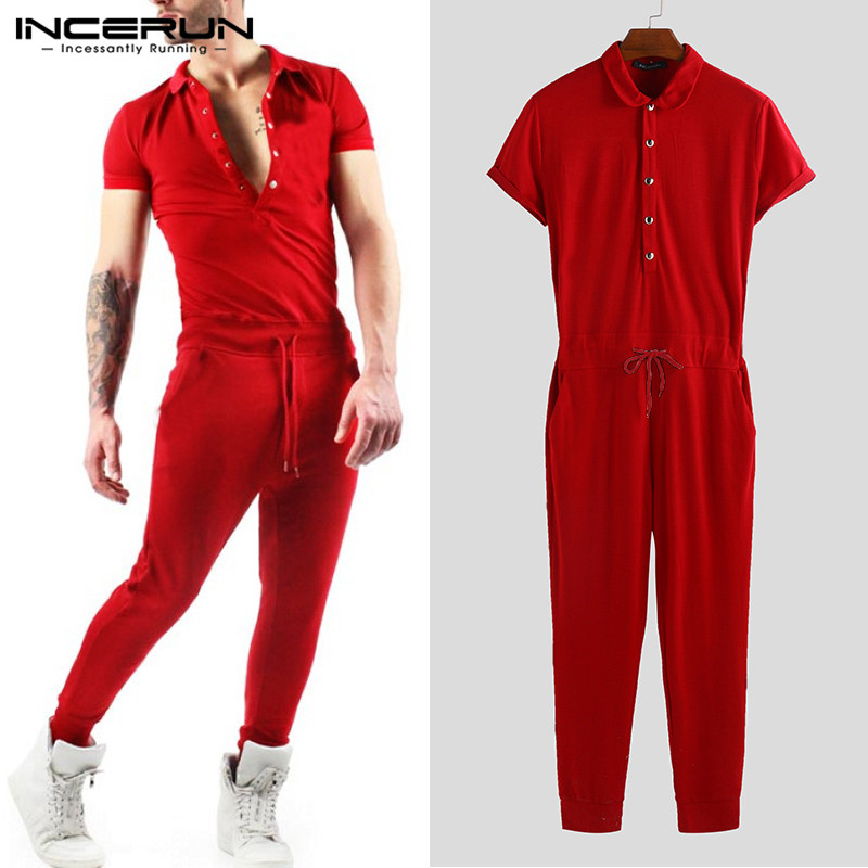 INCERUN 2019 Men Jumpsuit Lapel Neck Rompers Solid Shortsleeve Fitness Hiphop Bodybuilding Men Overalls Pants Streetwear S-5XL