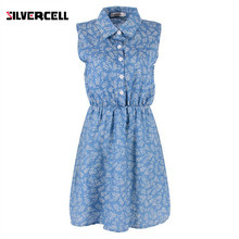 New Design Women Lady Summer Dress Casual Floral Slim Denim Dress Fashion A-line Lapel Sleeveless Dresses