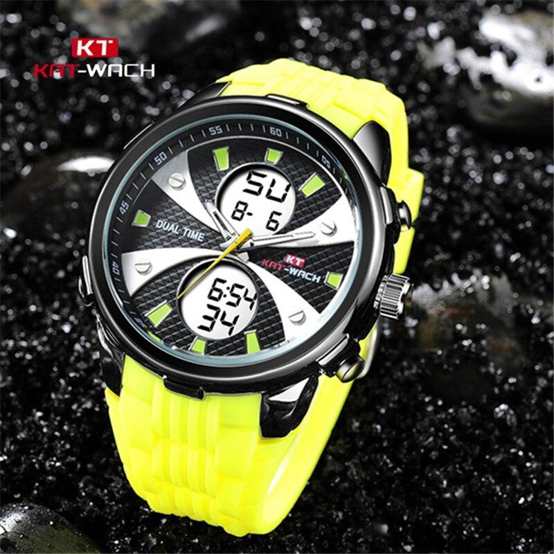 Angemessen Doppel Zeit Display Herren Armbanduhr Led Leuchtende Digitale Uhr Silicon Strap Woche Datum Display Wasserdichte Multi Funktion Reloj Starke Verpackung