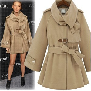 Fashion Star Style Luxury Elegant Poncho Fur Collar Overcoat ...