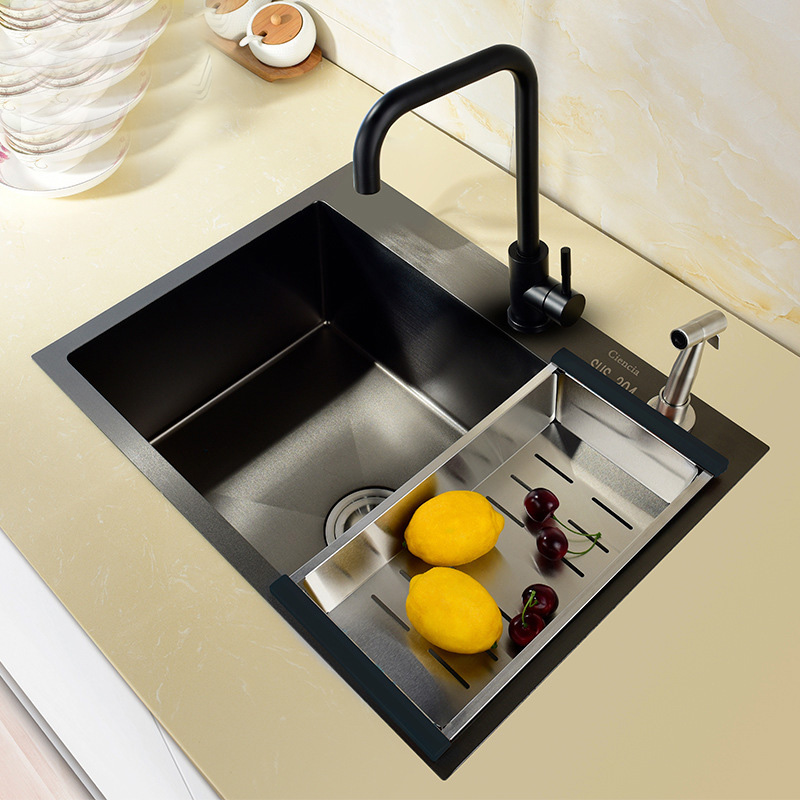 Steel Kitchen Sink Black Combo Thickening Manual Trough Basin Stage Basin Undercounter Single Groove Kitchen Cuisine