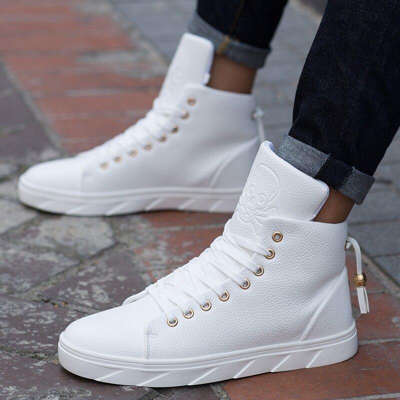 Chaussures de skate blanches pour hommes chaussures de sport de rue respirantes chaussures de marche Hip Hop Chaussure Homme
