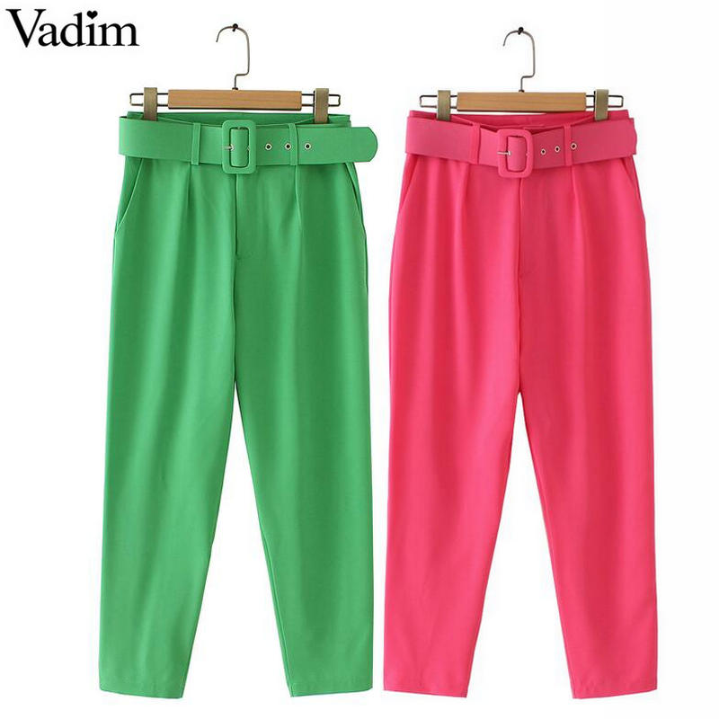 Vadim Women Basic Fluorescence Pants With Belt Pockets Design Office Lady Casual Chic Trousers Stylish Color Pantalones KA152