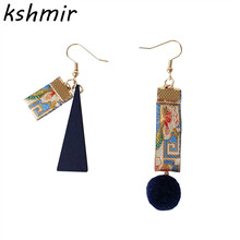 Fashion earrings delicate embroidered ribbon asymmetric wooden stud wholesale