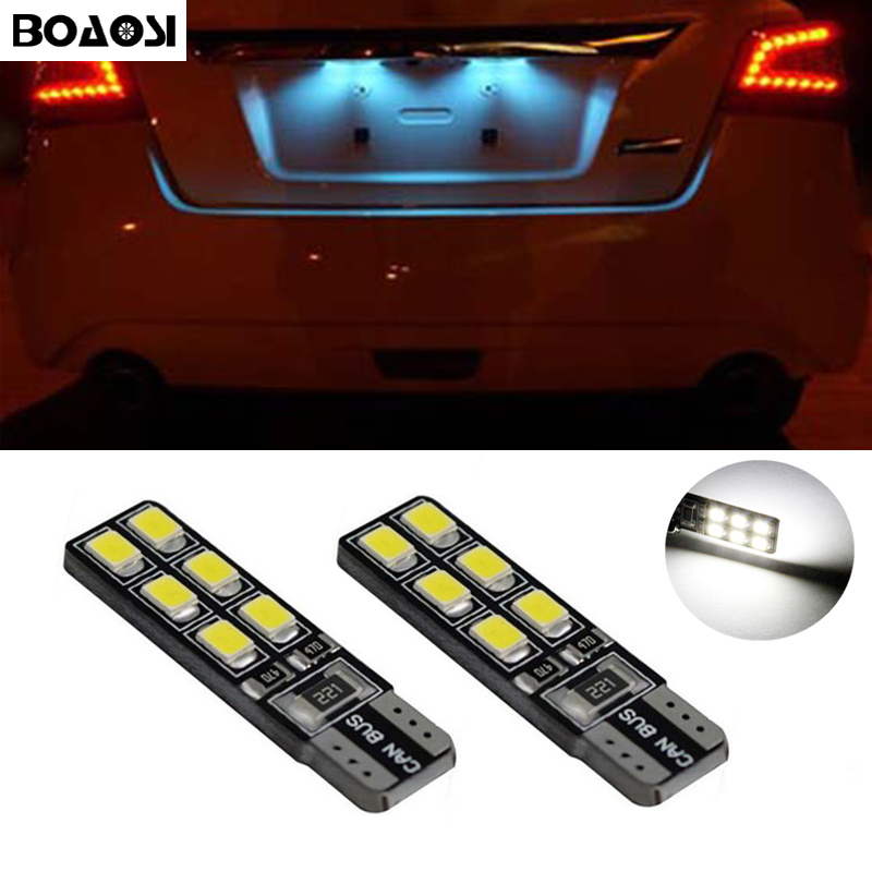 BOAOSI 2x T10 SMD 2835 Car LED License Plate Auto Canbus Light W5W 168 194 For Opel Adam Corsa C Corsa C Combo Corsa D Astra H cawanerl car canbus led package kit 2835 smd white interior dome map cargo license plate light for audi tt tts 8j 2007 2012