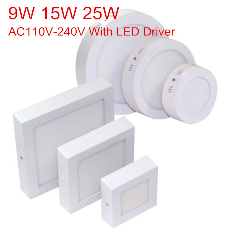 9W 15W 25W Surface Mounted LED Ceiling Lamp 3000K 4000K 6000K Round/Square LED Panel Downlights for Bathroom Lighting AC85-265V(China)