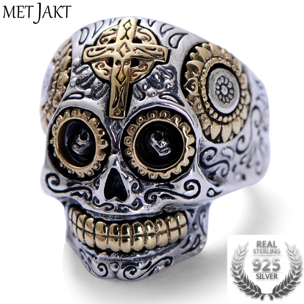MetJakt Real 925 Sterling Silver Skull Ring and Gold Cross for Vintage Punk Rock Locomotive Ring for Men Halloween Jewelry