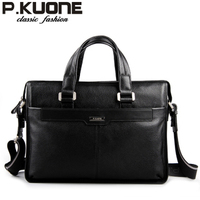 P Kuone Man Bag Commercial Male Handbag Genuine Leather Shoulder Bag Casual Briefcase Leather Bag