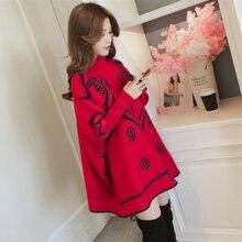 Для беременных женщин Зимний Длинный дизайнерский свитер с высоким воротом для беременных размера плюс рукав летучая мышь А-силуэт трикотажные пуловеры