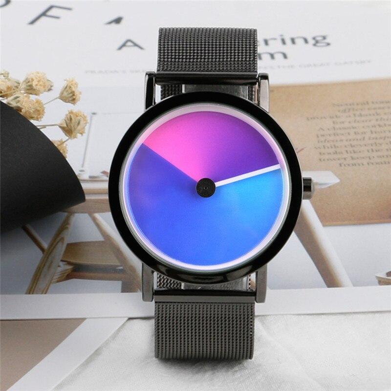 De los hombres con estilo reloj creativo colorido de vórtice de línea de acero inoxidable de malla de la banda minimalista espiral reloj pulsera de cuarzo Sci-fi Relojes
