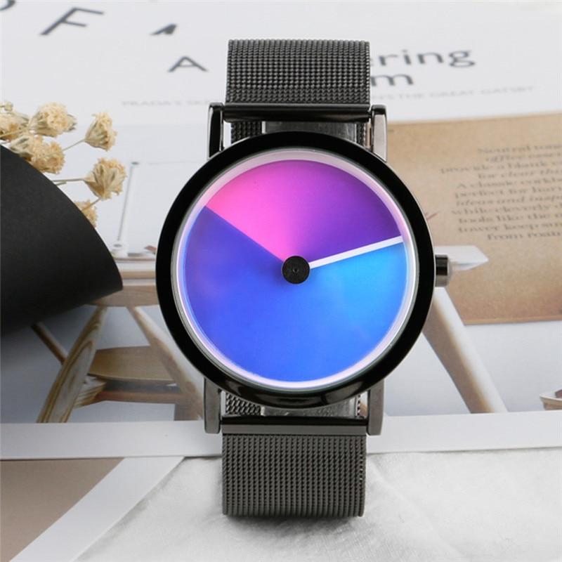 Geek Stylish Men Watch Creative Colorful Vortex Dial Stainless Steel Mesh Band Minimalist Spiral Quartz Wristwatch Sci-fi Clocks