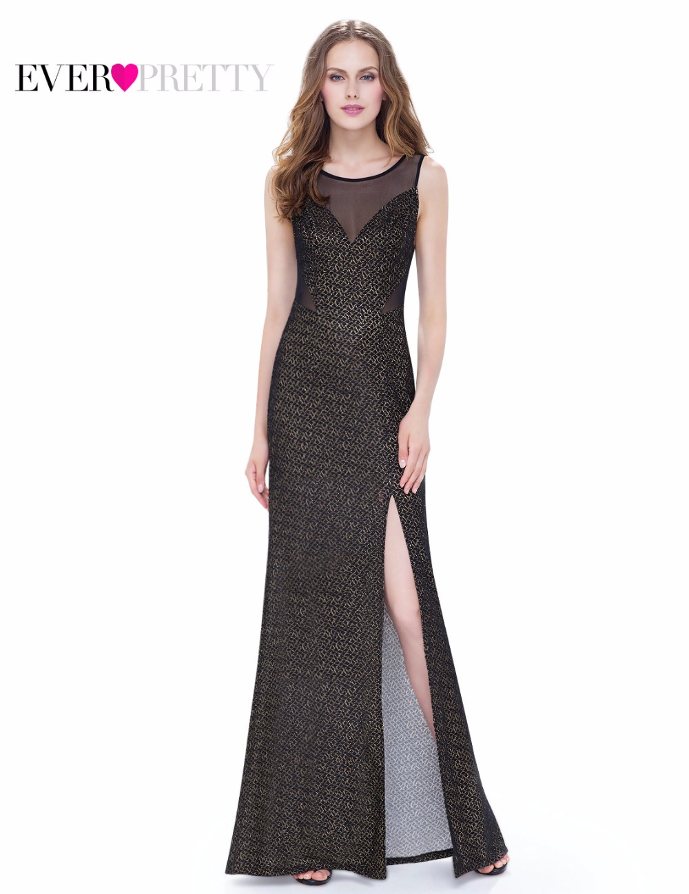 Black Evening Party Dress Women Round Neck Hot Selling EP08952BK Sleeveless Ever Pretty Unique Side Slit Dress  2017