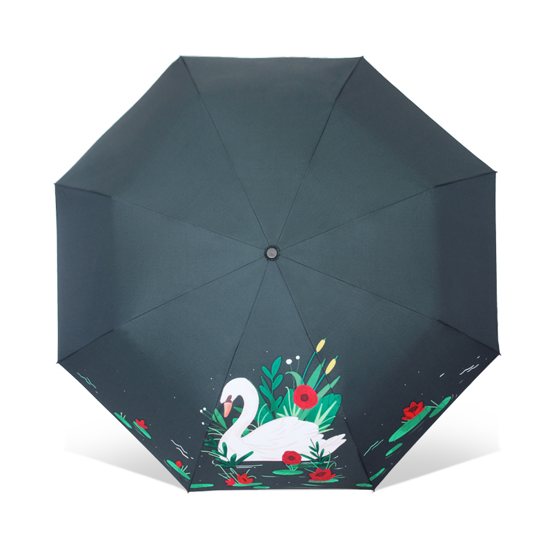 Fashion Art Illustration Cartoon White Swan Sun Umbrella 3 Folding Thickening 8 Rib Creative Sunshade Women Umbrellas illustration