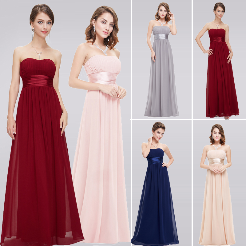 Grey Bridesmaid Dresses Long EB25599 Elegant Chiffon Burgundy A-line Off Shoulder Plus Size Cheap Prom Gowns For Wedding Party