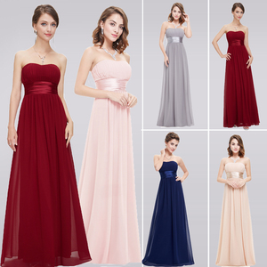 Image 1 - Grey Bridesmaid Dresses Long EB25599 Elegant Chiffon Burgundy A line Off Shoulder Plus Size Cheap Prom Gowns for Wedding Party