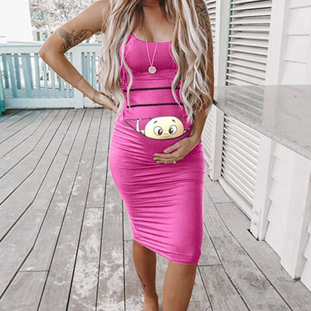 Women Cute Maternity Dresses Short Sleeve Tank Dresses Funny Print Mini Dresses for Summer Daily Wearing and Baby Shower