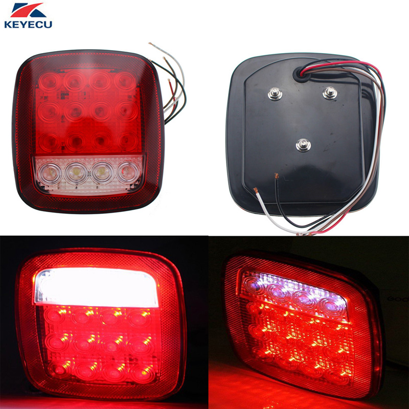 KEYECU Pack of 2 Red/White Dual Colors Stud Mounted Lamps 16LED Universal Tail Brake Turn Stop Licence Back up Lights for Truck