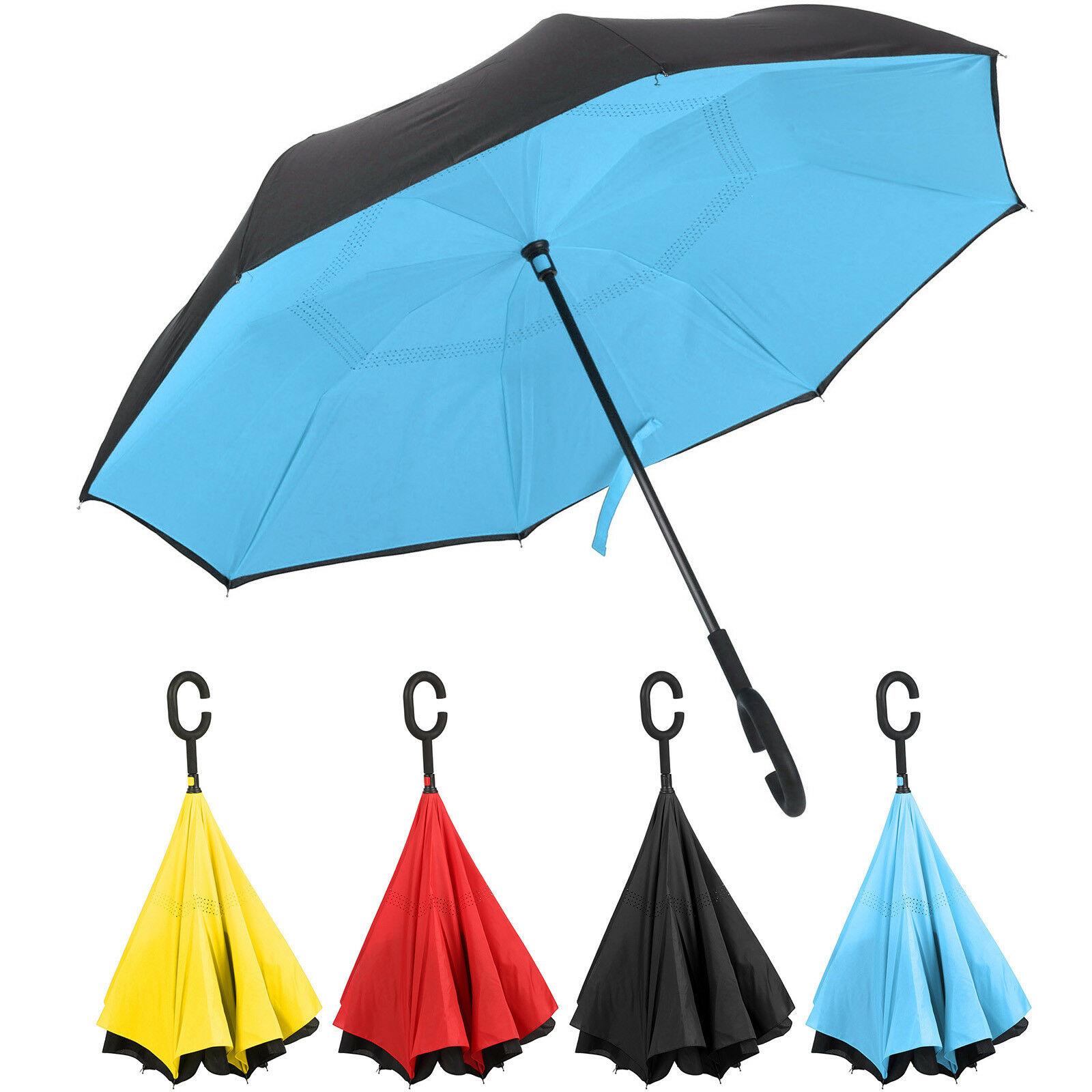Double couche à l'envers inverse soleil parapluie c-poignée pliant coupe-vent mode inversé parapluie clair parapluie Parasol