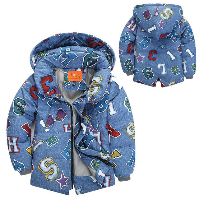 2017 Novas Crianças Outerwear Inverno Quente Para Baixo Casaco Casual Crianças Roupas 6Y Engrossar Bebê Das Meninas Dos Meninos Para Baixo Casacos Para Baixo Parkas