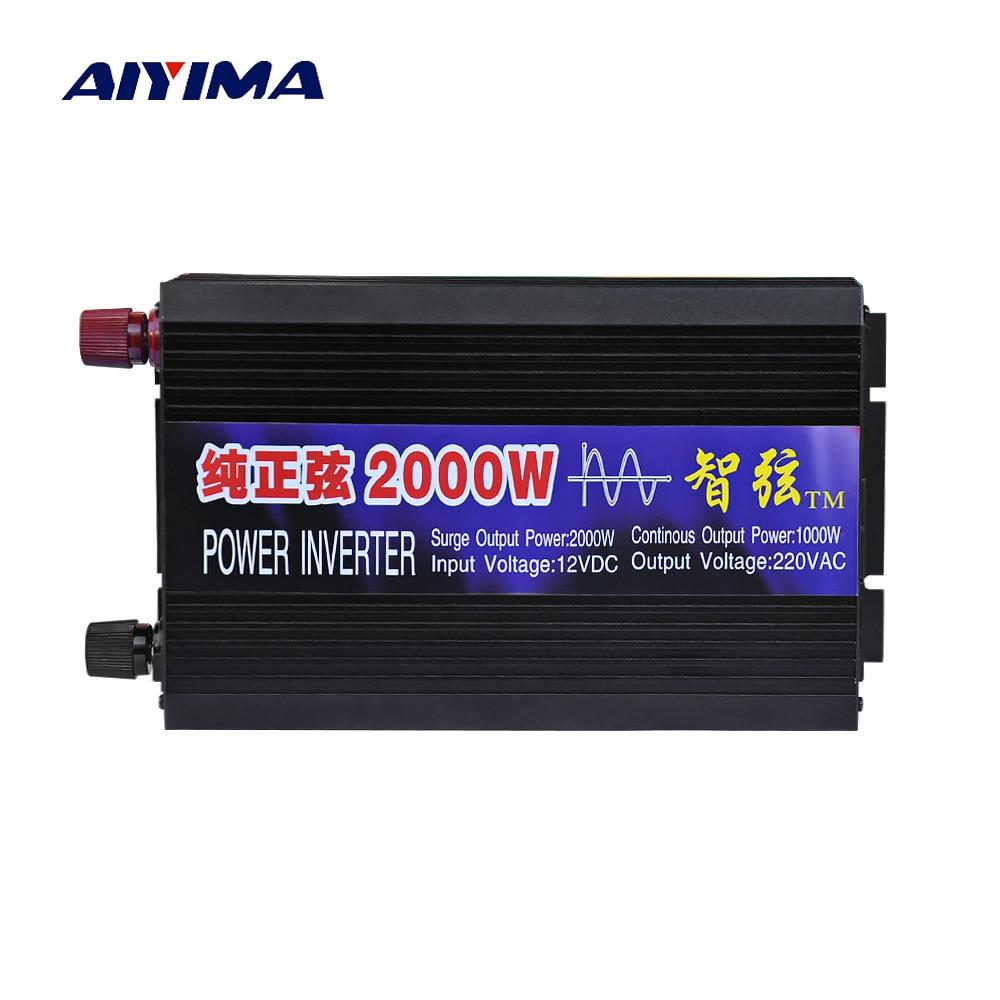 Aiyima Pure Sine Wave Car Power Inverter 2000W 12V 24V 48V To 220V Power Conversion Booster