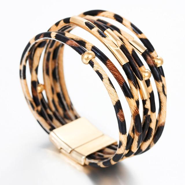 Amorcome Leopard Leather Bracelets & Bangles Elegant Multilayer Wide Wrap Bracelet Jewelry 2