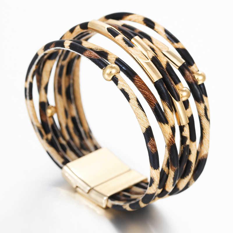 Amorcome Leopard Leather Bracelets For Women 2019 Fashion Bracelets & Bangles Elegant Multilayer Wide Wrap Bracelet Jewelry