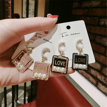 Korea Handmade Letter Square Pearl Rhinestone Women Drop Earrings Dangle Fashion Jewelry Accessories-QQD5