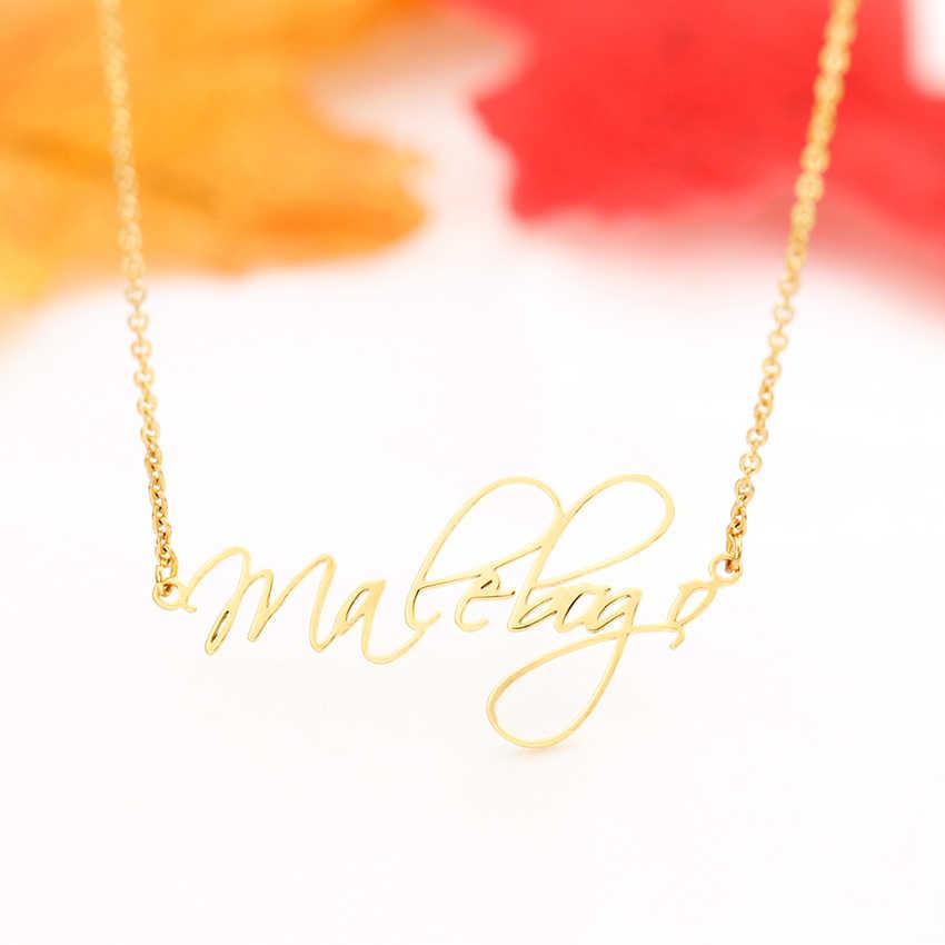 Для женщин и мужчин персонализированные скрипт Стиль имя кулон ожерелье s настроить курсивное табличка чокер ожерелье подружки невесты, подарочное для нее