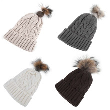 100 Brand New Spot Cable Raccoon Fur Hat Children Hat Cap Pompom Big Warm Poms Winter