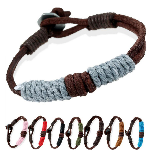 5b146bef2f9 11 Color Hemp Rope Wrap Couple Bracelets Retro Genuine Leather Wrap Bracelet  For Women Men Handmade Braided Cool Bangle Jewelry