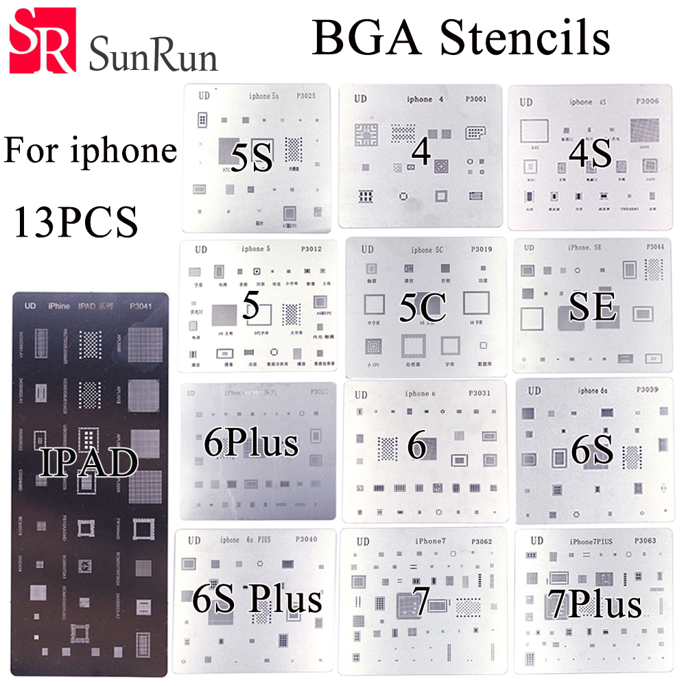 13pcs/lot high quality full set BGA Reballing Stencil dedicate kit for iPhone 4 4s 5 5s 5c 6 6+ 6S 6s+ 7 7+ SE iPad автомобиль iphone 6 plus iphone 6 iphone 5s iphone 5 iphone 5c универсальный iphone 4 4s мобильный телефон iphone 3g 3gs держатель